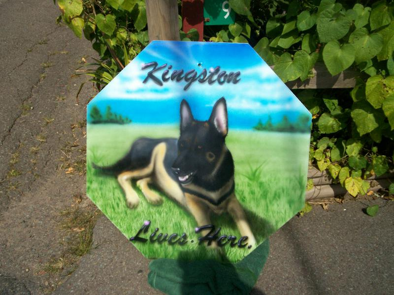 Airbrushed Pet Yard Signs and Plates