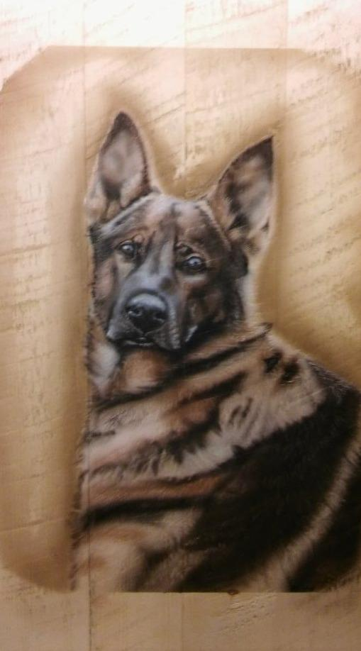 Custom Airbrushed Wood Art of your Favorite Dog